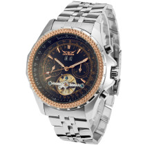 New JARAGAR Brand Men's Wacth, Big Face Three Dial Calendar Stainless Steel Tourbillon Wrist Watch, Automatic Mechanical Watches for Men Hodinky