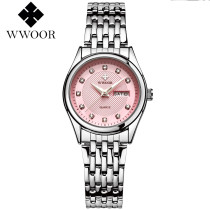 WWOOR Luxury Women, Crystal Watch Stainless Steel Band Crystal Dial Quartz Wristwatch, Gift for Women