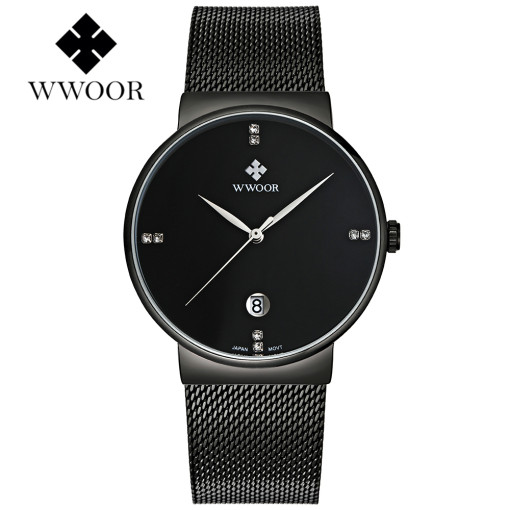 WWOOR Top Brand Men's Watch, Ultra Thin Mesh Band Business Sports Waterproof Men's Quartz Wrist Watch, Watch for Men