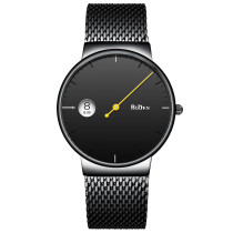 BIDEN Minimalism Watch, Water Resistant Quartz Mash Stainless Steel Strap Birthday Wrist Watch, Gift for Men