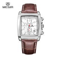 MEGIR Watch, Quartz Men Watch Genuine Leather Chronograph Watch Male Luminous Wrist, Clock Gift for Men