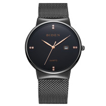 Men's Watch, BIDEN Ultra Thin Quartz Clock Male Minimalist Rhinestones Wrist Watches, Watch for Men