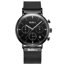 BIDEN Men's Watch, Stainless Steel Quartz Men Watches Mesh Band Chronograph Date Display Wrist Watch, Watch for Men