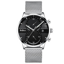 BIDEN Fashion Casual Luxury Brand Quartz Men Watches, Mesh Stainless Steel Strap Business Wristwatch, Waterproof Male Gift Clock for Men Watch
