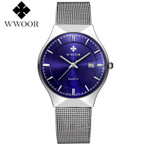 WWOOR Luxury Men's Watch, Ultra Thin Stainless Steel Mesh Bracelet Business Wrist Quartz Watch, Watch for Men
