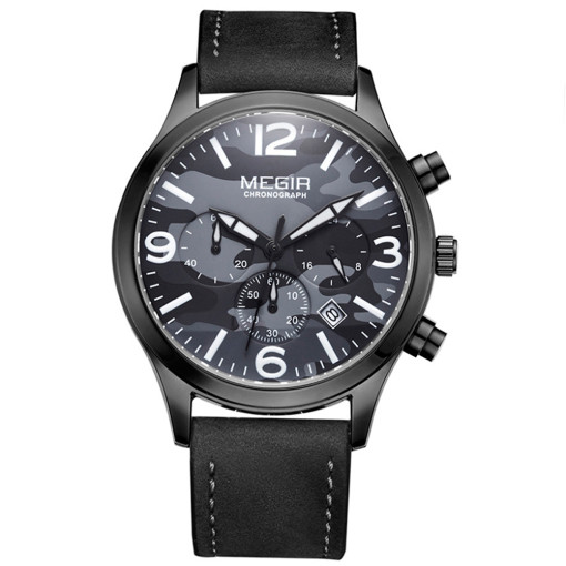 Fashion Mens Watch, Stainless Steel Leather Band Quartz Wrist Watch, Christmas Gifts for Men