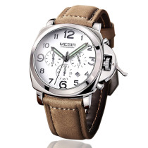 MEGIR Sport Watch, Leather Men Quartz Watches Chronograph Army Military Wrist Watch, Watch for Men