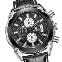MEGIR Men's Watch, Chronograph Function Titan Watch Genuine Leather Military Wrist Watches, Gift for Men