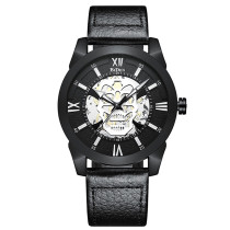 BIDEN Waterproof Military Men Watch, Sport Army Male Clock Top Brand Luxury Skull Genuine Leather Wristwatch, Fashion Quartz for Mens Watches