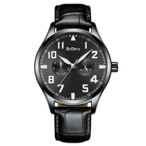 BIDEN Business Fashion Men Watch, Top Brand Luxury Genuine Leather Sport Men's Wristwatches, Military Army Quartz Male Clock for Men Watch