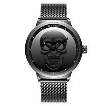 BIDEN Punk Stylish Skull Mens Watch, Top Luxury Brand Black Sport Stainless Steel Wristwatch, Waterproof Clock Gift for Men Watch