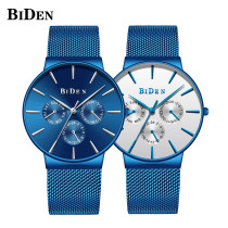 BIDEN Men's Watch, Stainless Steel Mesh Watches Strap Three Small Dials Business Wristwatch, Watch for Men