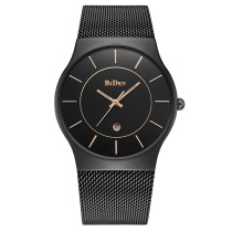 BIDEN Watch, Stainless Steel Watch Strap Simple Casual Quartz Wrist Watches, Gift for Men