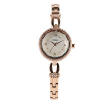 Elegant Crystal Women's Bracelet Wrist Watches Rose Gold Stainless Steel Link Band, Watches for Women