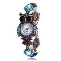 Fashion Womens Bracelet Watch, Unique Round Case Crystal Vintage Owl Quartz Watches, Gift Wrist Watch for Women