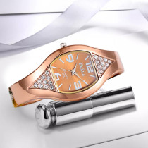 Women's Bracelet Watch, Rhinestone Rose Gold Quartz Wrist Watch, Gift for Women