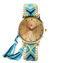 National Style Wristwatch, Handmade Braided Multiful Color Wristwatch for Women, Casual Quartz Wristwatch