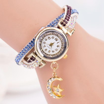New Fashion Women Watch, Casual  Rhinestone Quartz Wrist Watch, Braided Leather Bracelet Watch Gift for Women