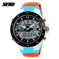 SKMEI Dual Time Display Japanese Movement Rubber Band Wrist Watch