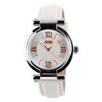 SKMEI Women Dress Watch Leather Strap Quartz Wristwatches Ladies Hours