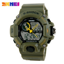 SKMEI Men's Fashion LCD Analog Digital Sport Military Black Rubber Band Wristwatch