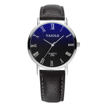YAZOLE Leather Men's Watch, Quartz Analog Wristwatch, Sport Watch for Men