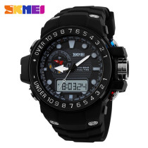 SKMEI Waterproof Digital Rubber Dual Time Noctilucent Wrist Watch