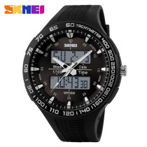 SKMEI Men's Waterproof 50M Digital Rubber Dual Time Noctilucent Quartz Watch