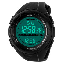 Mens Sports SKMEI 5ATM Waterproof Glow in Dark LED Digital Wrist Watch