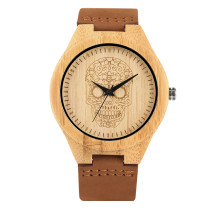 Leisure Fashion Wooden Watches for Men, Brwon Leather Strap Quartz Wrist Watch, Cool Gift Wristband for Men