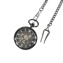 Roma Leisure Black Pocket Watch for Men, Alloy Mechanical Watch with Chain for Men Woman, Hot Pocket Watches for Women Men