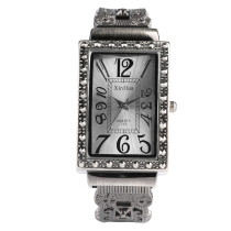 Unique Rectangle Black Watch for Women, Rome Figures Bracelet Watch for Lady, Hollowed Out Strap Quart Watch for Girls