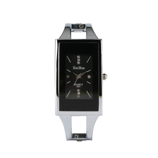 Black Elegance Bracelet Watch for Women's, Rectangle Wrist Watch for Girl, Hollow Out Stainless Steel Watch Band Quartz Watch for Teenagers
