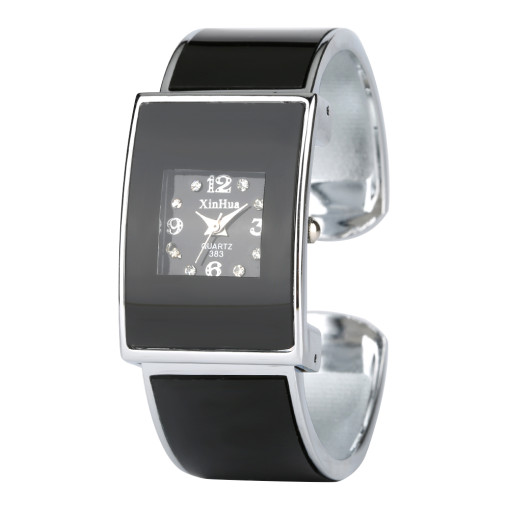 Stainless Stell Bracelet Black Watch for Women, Adjust Trap Bracelet Watches for Girl, Rectangle Bangle Watch for Lady