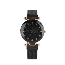 Stainless Steel Mesh Bracelet Watch for Girls, Quartz Core Bracelet Watches for Women, Fashionable Black Quicksand Scintillating Dial Wrist Watch for Lady.