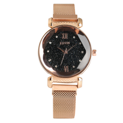 Star Dial Watch for Women, Multi Drill Watches for Girl, Magnet Mesh Belt Wristwatch for Teenagers
