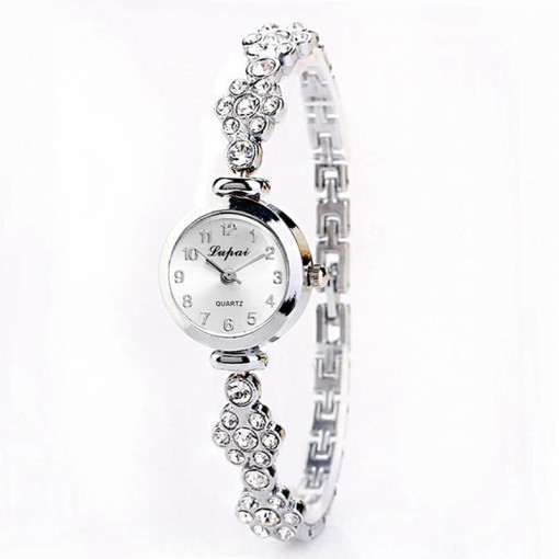 Women's Watch, Small Dial Stainless Steel Quartz Wrist Watch, Rhinestone Crystal Band Watch for Women
