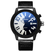 European and American Fashion Black Watch for Man, Two Color Tidal Current Watches for Boy, Leather Strap Wristwatch for Teenagers