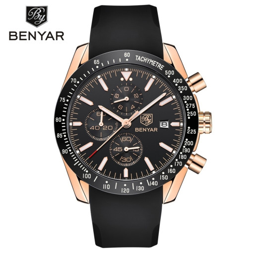 Man's Quartz Watch, Black Silicon Tape Quartz Watch for Boy, Show Date Quartz Watches for Gentleman