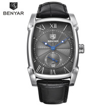 BENYAR Men's Black Quartz Watch, Rectangular Watch for Men, Belt Waterproof Quartz Watches for Boys