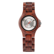 Vintage Men's Watch, Full Wood Watch with Red Second Hand Dial Watch for Men Women, Small Size Business Wristwatch