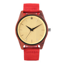 Trendy Men's Wood Watch, Wood Case Watch Leather Strap Artificial Crystal Dial Wristwatch for Women Men, Casual Quartz Wristwatch