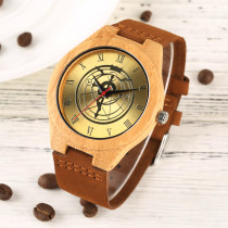 Golden Dial Watch for Men, Natural Bamboo Wood Watches for Boy, Rome Figures Wristwatch for Teenagers