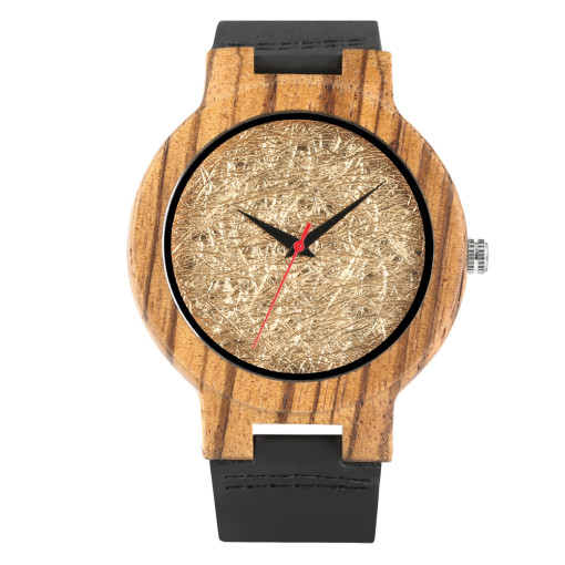 Simple Coffee Wooden Women's Watch, Elegant Bamboo Watch for Girls, Quartz Watch Black Watches for Women