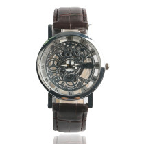 Casual Men's Watch, Leather Business Watch for Men Women, Transparent Skeleton Men Wrist Watch Gift