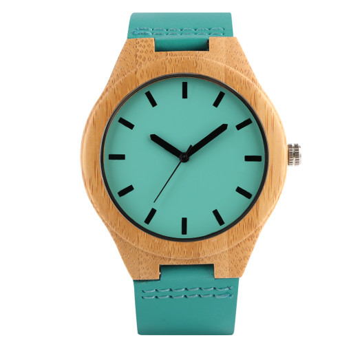 Belt Leisure Quartz Watch for Men, Natural Bamboo Wood Watches for Boy, Wooden Shell Wristwatch for Teenagers