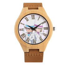 Quartz Watch for Man, Leather Strap Watches for Boy, Wooden Natural Wristwatch for Teenagers