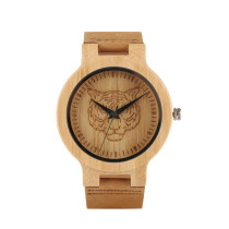 Natural Wooden Wrist Watches for Women and Men, Tiger Pattern Design Watch for Younth, Quartz Watches for Teenager