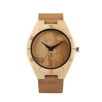 Design of Natural Bamboo and Wood Watch for Lovers, Animal Cats Watches for Teenagers, Quartz Mould Wrist Watch for Young People