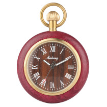 Red Wooden Quartz Pocket Watch for Men and Women, White Arabic and Roman Digital Wooden Box Pocket Watches for Couples, Sports Men and Women's Beautiful Pocket Watch